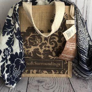Floral Stripe swim Wrap Scarf & Jute Gift Bag